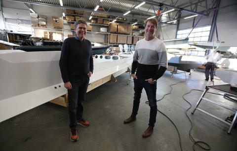 STORSATSNING: 20 år etter at Goldfish Boat AS flyttet til Sletta næringspark i Son, gjør de sin største satsning noensinne; Et splitter nytt teknologi- og utviklingssenter i Sonskilen. Det ser både eier Pål Sollie (t.h) og daglig leder Knut Halvard Iversen frem til.