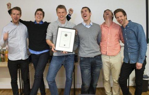 God stemning: Nesoddingene bak Clickslip kunne smile bredt da de vant konkurransen AppLab. foto: privat