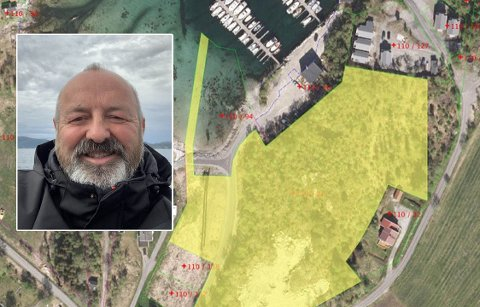 Finn Pedersen fra Sortland ønsker å kvitte seg med et gigantisk område som han eier i Bodø. Foto: Privat/kart