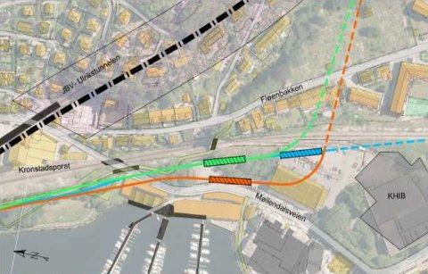 Her er en oversikt over de tre aktuelle stoppene for Møllendal. Planleggerne sliter med å få det «sentralt nok» i den nye bydelen, på grunn av stigningsforholdene til Haukeland.