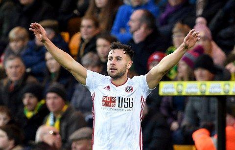 George Baldock jubler etter å ha scoret seiersmålet mot Norwich sist helg Vi tror the Blades kan ta en ny seier i dag. (Joe Giddens/PA via AP)