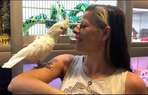 HAR DET BRA: Weronicha Buvik eig sjølv denne omplasserte fuglen, som enkelte meiner ikkje har det bra i butikken.
