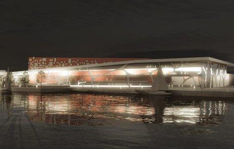 På skissestadiet: Arena Fredrikstad er på denne skissen tenkt plassert på Værste-området. Der kan den bygges i tilknytning til en ny videregående skole.Modell: Link Arkitektur