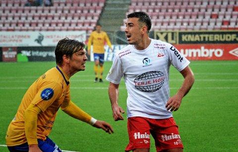 BARE NESTEN: Sanel Kapidzic (til høyre) og FFk skapte mange sjanser, men det endte i kun ett poeng. Foto: Geir A. Carlsson.