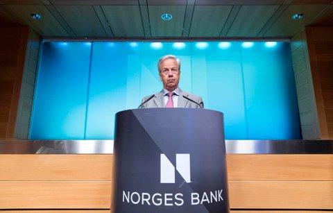 Sentralbanksjef Øystein Olsen kunngjorde  hovedstyrets rentebeslutning torsdag. Foto: Gorm Kallestad / NTB scanpix