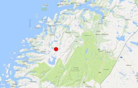 I området mellom Beiarn og Glomfjord har skjelvet trolig hatt sitt episenter.