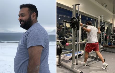 NED 32 KILO: Harpal Singh har kjempet mot kiloene siden høsten 2019. I sommer raste han ned i vekt ved å gå tur i nærområdet. – Favoritturen må være å gå opp til øvre fjellheisstasjon, sier Singh. Foto: Privat