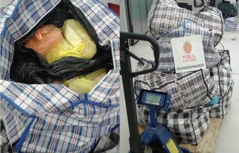 KJØTT: Tollerne beslagla ulovlige kjøttvarer på vei inn i Norge i en litauisk varetaxi.