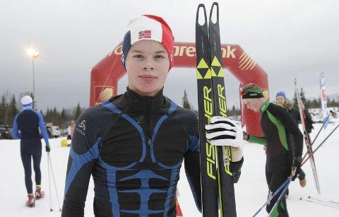 KM på ski Sjåmoen fristil. Arrangør Mosjøen IL Ski. Kretsmester i G16 Bastian Holst, Melbo