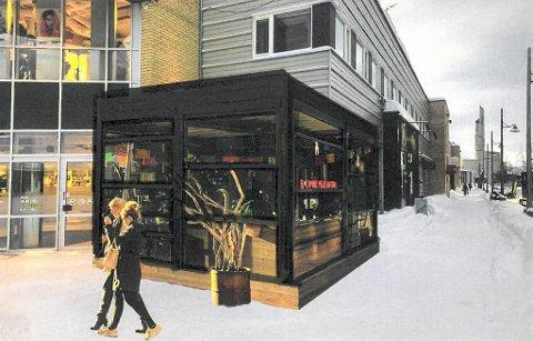 VINTERHAGE: Det er tenkt en modulbasert vinterhage i gågata i Alta. Skisse opplevelsesdesign.no