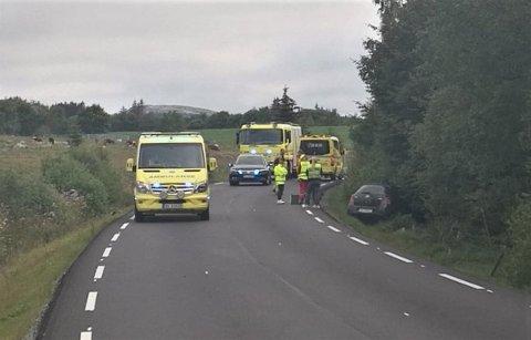 UTFOR VEIEN: Ulykka skjedde på fylkesvei 506 mellom Bryne og Ålgård.