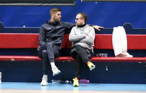 KAN VÆRE KANDIDATER: Joar Gjerde (t.v.) og Heine Ernst Jensen møttes som trenere for henholdsvis Viking og Sandnes i 1. divisjon i 19/20-sesongen. Viking rykket opp til eliteserien, mens Sandnes etter hvert berget plassen med god margin.