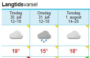 VARSEL FRA YR: Dette er værvarselet for Kragerø på Yr.no for de tre neste dagene.
