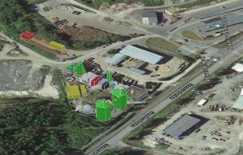 SKISSE: Tegningen som Cambi AS presenterer gir et inntrykk av anlegget de ønsker å bygge på Gomsrud.