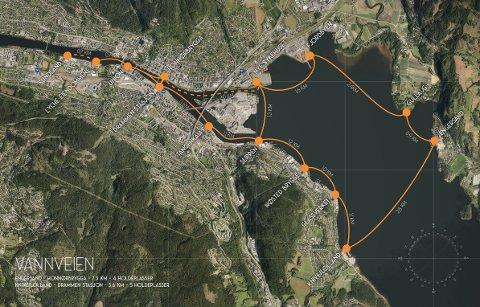 VIL HA FERJERUTE: Ti av Drammens store eiendomsutviklere er klare på at de vil ha en ferjerute. Dette er de mulige stoppestedene initiativtakerne har sett seg ut.