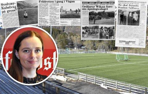 Stranda Stadion: Politikerne i Vågan har vedtatt at det skal bygges ny idrettshall, som også skal romme møtested for barn og unge, på Stranda Stadion i Svolvær. Faksimilene viser noe av prosessen den gang idrettsanlegget først ble bygget opp på Stranda i Svolvær.