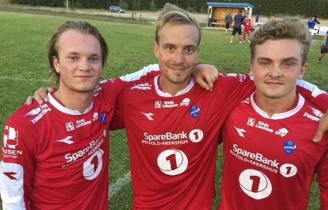God sesong: Sprint-spillerne Aleksander Holmen Nordseth (f.v.), Erik Halvorsen og Steffen Magnar Bråthen kan se tilbake på en solid 2018-sesong, selv om det ikke ble opprykk. Foto: Knut-Eigil Nesselquist
