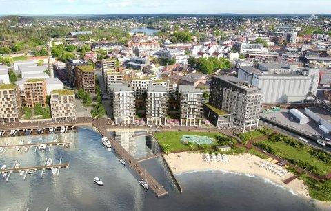POPULÆRT: De planlagte boligene på Verket Brygge går hurtig unna. Leilighetene er fordelt på tre blokker. Til høyre ligger det nye hotell Riviera.