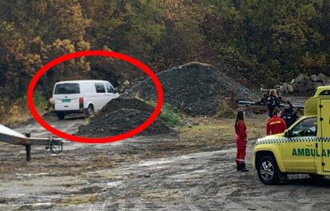 Her fant politi den stjålne varebilen som er brukt i forbindelsen med ran på shell i Tromsdalen. Foto: Thor Harald Henriksen
