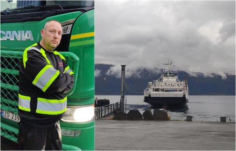 UENIGE: For tidlig avgang eller for sent oppmøte? Bjørn Roger Hauglid og fergerederiet Norled er uenige om hvem som har skylden for at yrkessjåføren stod igjen på kaien i Lyngen onsdag.