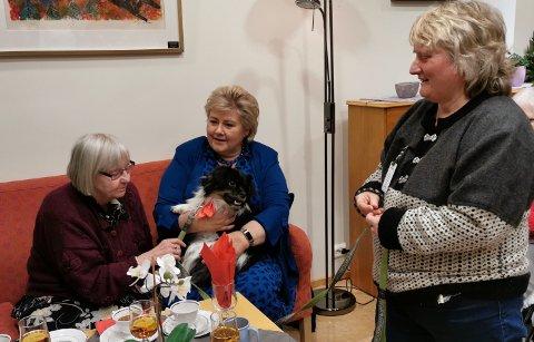 Statsministeren og Unni Johansen i Gjøvik Røde Kors med hunden Eddie på besøk på Haugtun.