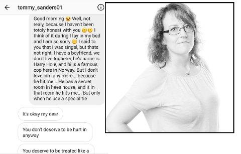 SKREMMENDE: Anne Holtet fra Elverum syns det er morsomt at ikke påstanden om at hun er gift med en fiktiv og godt kjent romanfigur gjør at svindleren ikke forstår at han blir rundlurt av henne. – Det som er enda mer skremmende er at folk lar seg lure av slikt vrøvl, sier hun til Østlendingen. Skremdump: Instagram / Foto: Privat