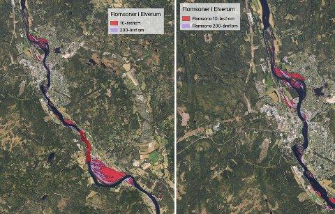 FLOMKART: Dette kartet viser hvordan en 10- og 200-årsflom vil ramme Elverum. Kartdata: NVE / Norkart AS / Geovekst / Elverum kommune