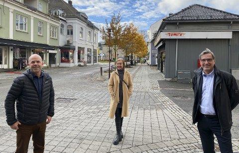 ORGANISERER JULELYS: Frode Halvorsen, Stine Ellingsberg og John Einar Rørvik gleder seg til julebelyst Storgate.