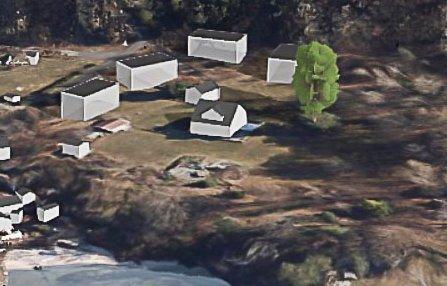 FIRE HYTTER: Slik tegnes hytteutbyggingen på Seivall.