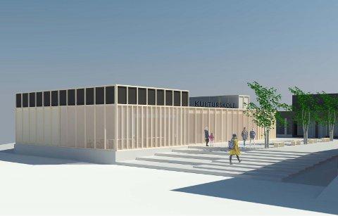 FØRSTEUTKAST: Arkitektene har laget en skisse over hvordan en potensiell ny kulturskole kan bli seendes ut.