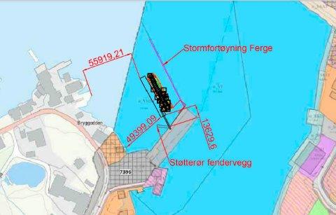 Flytebrygga er tegnet i svart. I midten nederst, ligger dagens hurtigbåtkai. Fergekaia ligger i midten. Illustrasjon: Nordland fylkeskommune