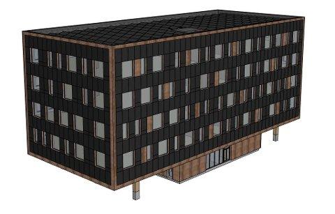 """SKISSE: Slik ser de første tegningene av kontorbygget ut. Den viser at første etasje blir en slags """"fot"""", mens etasjene over strekker seg videre utover."""
