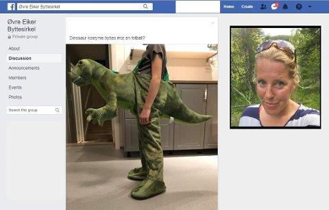 BYTTESIRKEL: Aina Fjukstad (40) startet «Øvre Eiker Byttesirkel» . Der har Tone Berg byttet bort et dinosaur kostyme mot en ball!