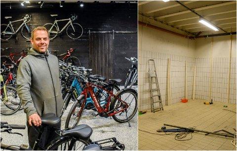 PUSSET OPP: Bjørnar Granum i den nyoppussede delen av Glade Hjul-lokalene. Nå får de vist fram flere sykler.