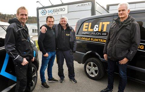 SAS Elektro AS har kjøpt opp elektriker bedriften EL&IT installasjon. Fra venstre: Roar Gabrielsen (SAS), Andreas Lausten (SAS), Leif Mørk (EL&IT) og Terje Standal (EL&IT).