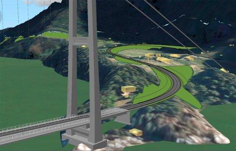 SVINVIKA: Slik ser skissen ut for hvordan bru og veg kommer i land i Svinvika på surnadalssiden av Todalsfjordprosjektet. De grønne områdene viser fyllingen vegen skal bygges på. Bygningene i Svinvik Gard sees til høyre for traseen.