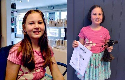 FORVANDLING: Cornelia Lyngby-Gram (8) var storfornøyd med diplom og ny frisyre.