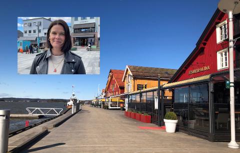 """MÅLTID I BYEN: Cecilie Sørumshagen i Tønsberglivet ser frem til årets """"Spis ute-uka"""", og håper mange benytter seg av tilbudet."""