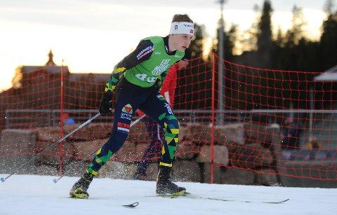 Tredjeplass: Det ble bronsemedalje til Tobias Gigstad-Bergene på åpningsdistansen under Hovedlandsrennet i skiskyting i Karidalen på Toten fredag.
