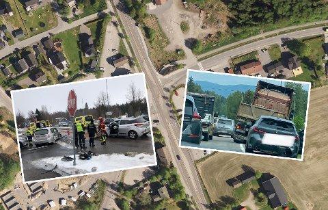 UTSATT:Satellittbilde av Ånebykrysset med bilder fra to av årets ulykker klippet inn.