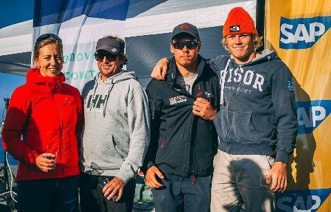 AVSLUTTET MED STIL: Benedicte Jensen (fra venstre), Morten Røisland, Mads Mathisen og Tomas Mathisen kom på andreplass i helgens runde i Trondheim.