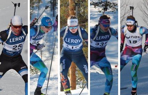 NM-SKISKIYTTERE: Fra venstre: Ånon Flåta, Lars De Bartolo, Ingrid Emblem Holte, Magnus Aasbø og Kristian Aasbø.