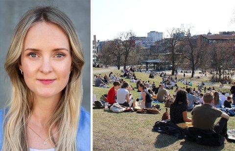 BØNN: Tine Ravlo sendte et brev til VGS-elevene på Frogner hvor hun maner til å holde ut med restriksjoner litt til. Bildet til høyre er fra Grünerløkka tidligere i april da mange i forskjellige aldre samlet seg i parkene (til illustrasjon).