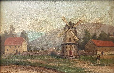Maleri av Julius Holck, 1908, som viser vindmøllen på Sydneshaugen. Maleriet skal være laget etter en blyanttegning fra 1860. Arkivet Maleri- og tegningssamling fra Bergen rådhus.