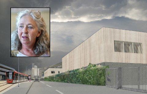Slik er byggverket Bane Nor vil reise på Nygårdstangen illustrert.