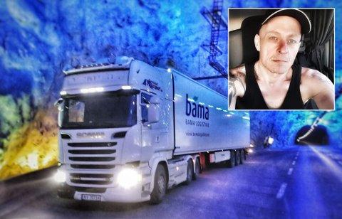 APPLAUS: Lastebilsjåføren Thomas Øverby (48) var på veg gjennom Sogndal sentrum då han fekk applaus frå to eldre ektepar. – Eg blei verkeleg rørt, seier han.