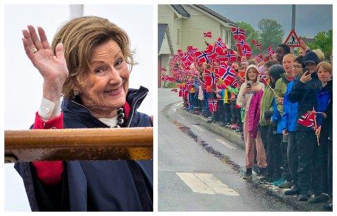 RØRANDE OPPLEVING: Dronning Sonja fekk behov for å fortelje om den rørande og spesielle opplevinga av besøket i Florø då ho i samband med ei kunstutstilling i Måløy møtte pressen.