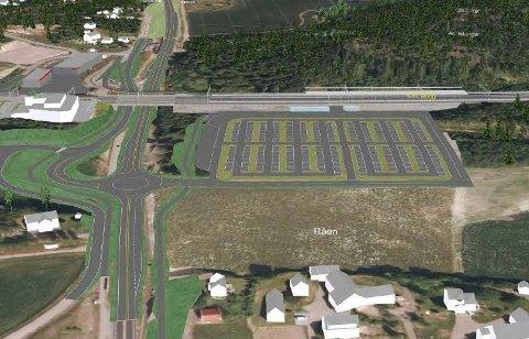 FLYTTES: Det er politisk flertall for å flytte næringstomtene fra dyrket mark (råen) til den andre siden av jernbanestasjonen.