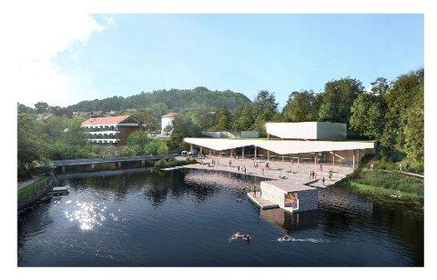 Slik ser Ålgård svømmeklubb og Ramp arkitekter for seg at et nytt svømmeanlegg kan se ut - plassert på den fem mål store tomta som i dag huser den gamle direktørboligen i Rettedalen 9.