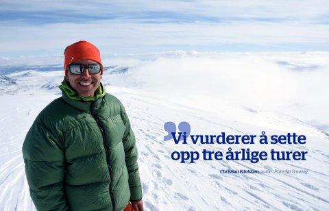 Guide Christian Edelstam er på testtur i Jotunheimen. Tidligere har bedriften hans arrangert turer til Nord-Norge.